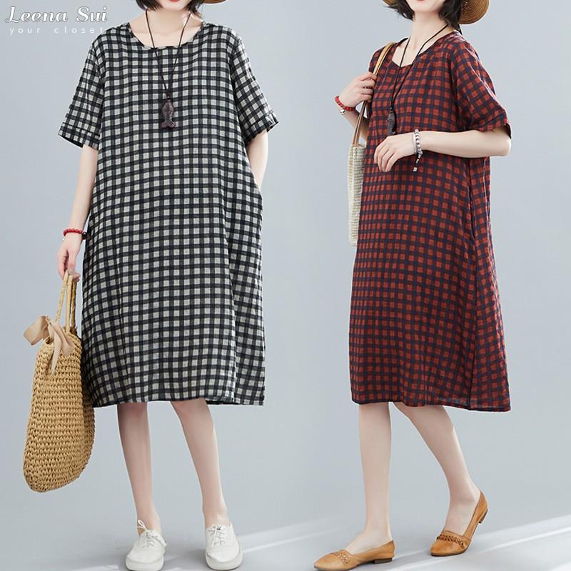 洋裝 連身裙 短袖大碼寬鬆中長款連衣裙 062598