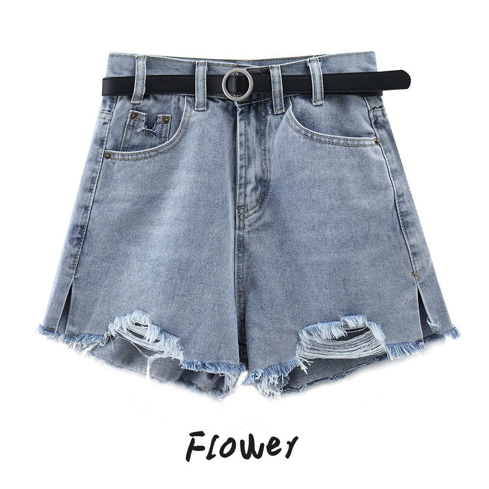 破洞牛仔短褲 韓版 牛仔 單寧 高腰 破洞 短褲 褲子 高腰顯瘦設計感小衆薄款寬松闊腿褲
