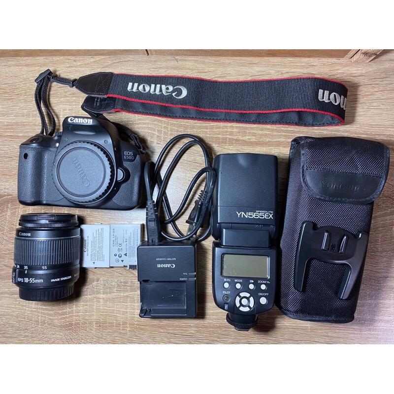 Canon 650D + 18-55mm鏡頭含全套配件 + YN565EX外閃 二手