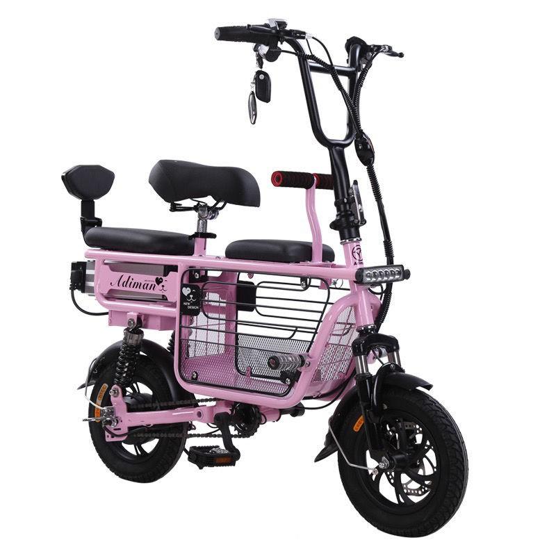 【最新款母子車】新國標親子電動自行車母子車三人座迷你電動車超輕便攜代步電瓶車