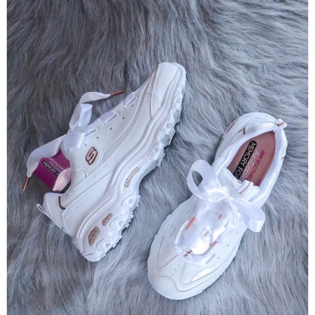 【笑笑】全新正品 Skechers 斯凱奇女鞋 蝴蝶結絲帶 松糕厚底 老爹鞋熊貓鞋 女款小白鞋 11976-WGD 現貨
