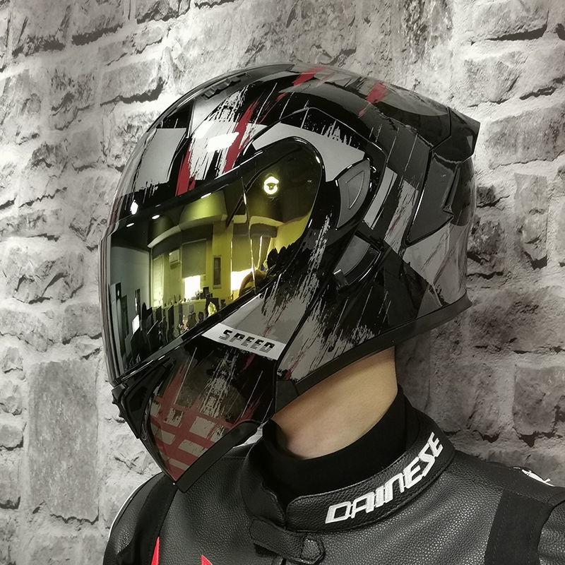 安全帽 機車頭盔 全罩安全帽 半罩安全帽 頭盔 機車 騎士ORZ摩托車頭盔男女全盔雙鏡片揭面電動機車個車越野盔四季個性