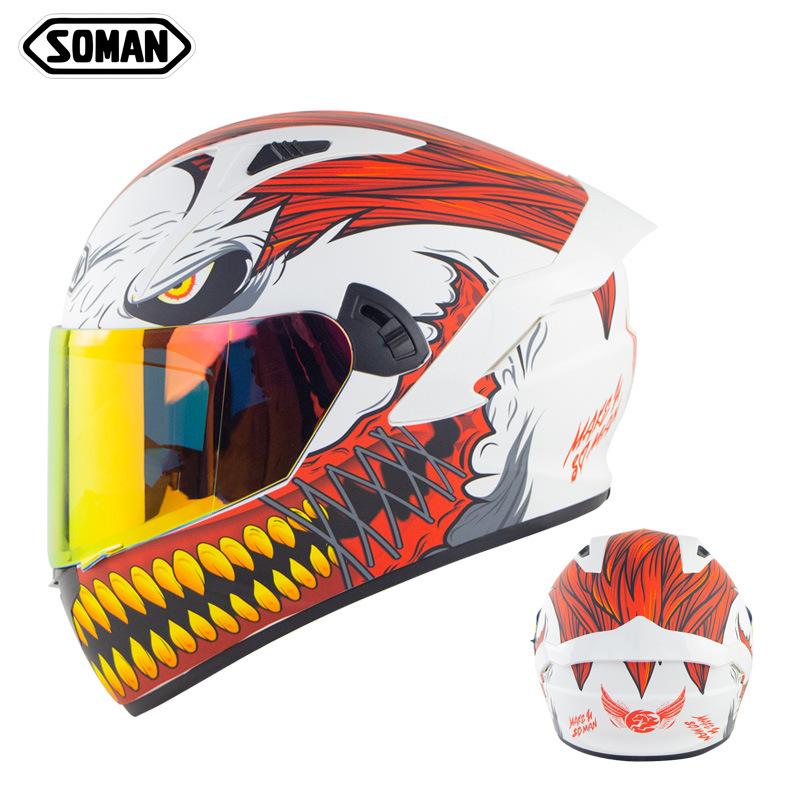 🔥SOMAN 安全帽🔥全罩安全帽 造型安全帽 全罩式安全帽 雙鏡片 環島機車頭盔摩托車