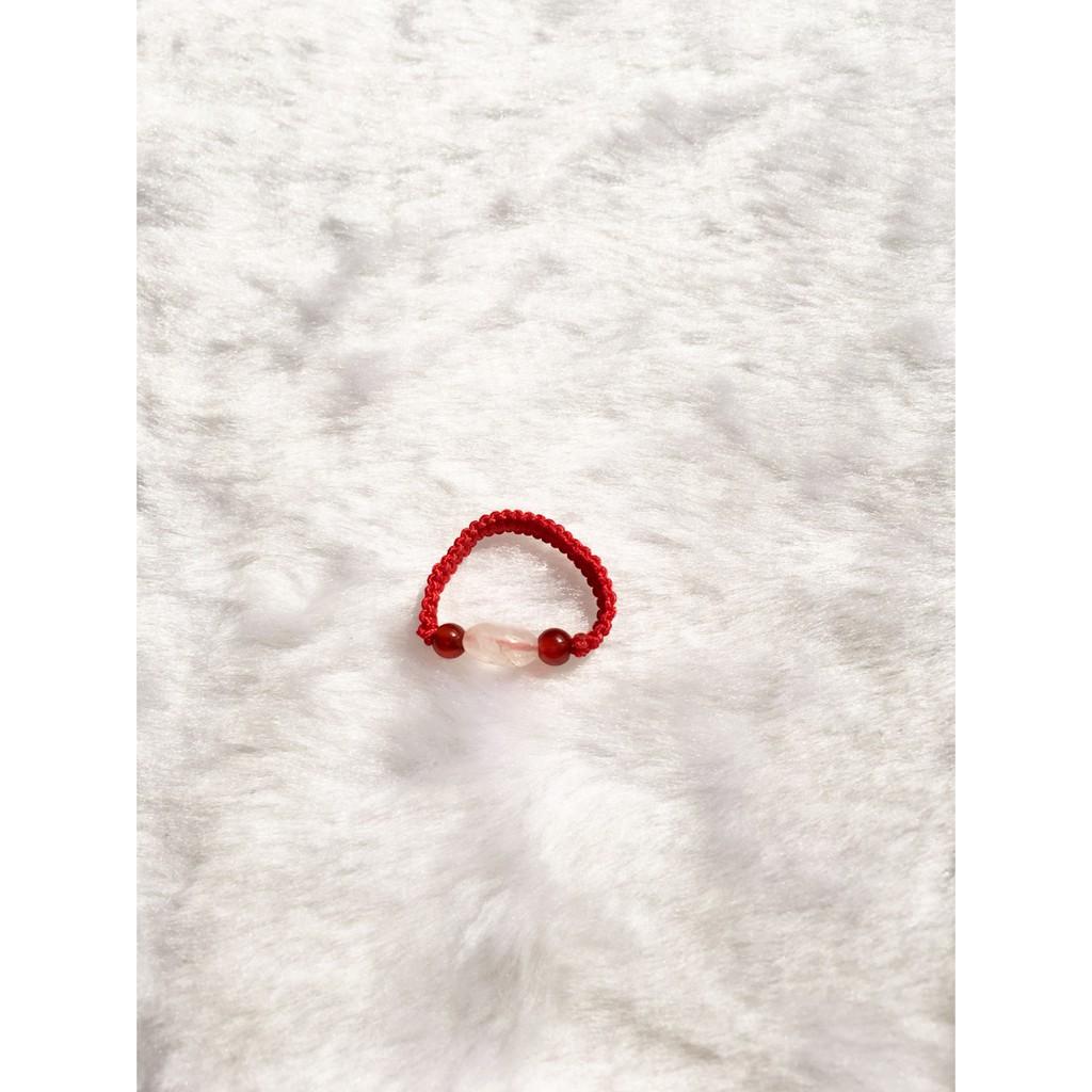 天然粉晶紅玉髓戒指.
