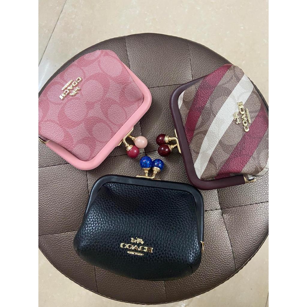 代購全新正品美國Coach/蔻馳 新款女士 prse 吻鎖釦印花純色零錢包 錢包 公主包 手包 短夾 時尚經典小手包