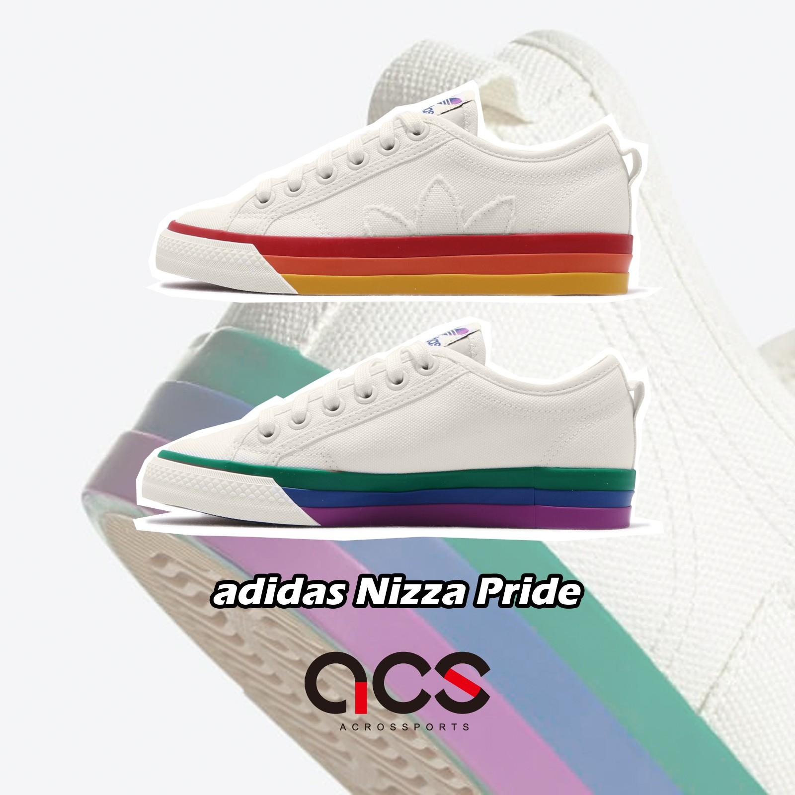 adidas 休閒鞋 Nizza Pride 米白 彩色 男鞋 彩虹 帆布鞋 運動鞋 【ACS】 EF2319