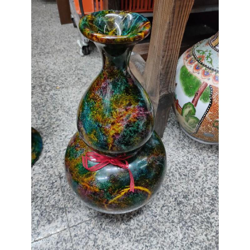 葫蘆造型花東七彩玉花瓶