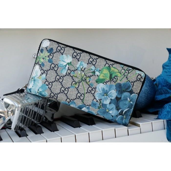 國際精品代購 Gucci 408665 藍花花拉鍊長夾 藍