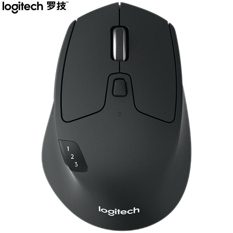 羅技(Logitech)M720 鼠標 無線藍牙鼠標 辦公鼠標 右手鼠標 大手鼠標 優聯 黑色 帶無線2.4G接收器