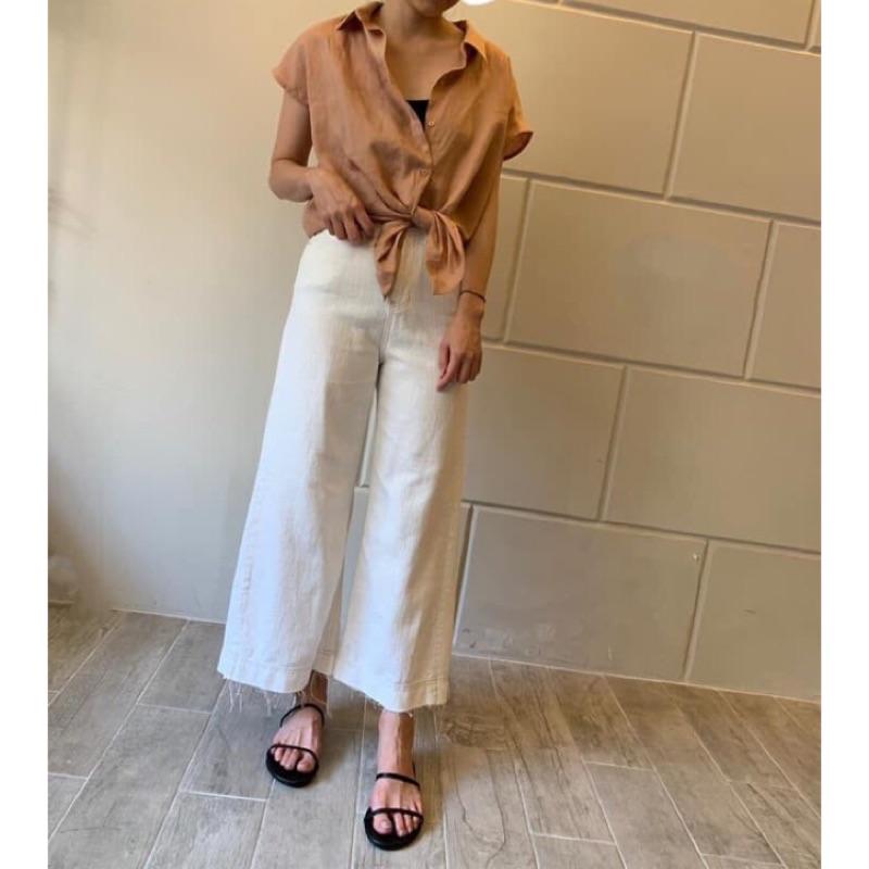 韓國白色棉麻直筒寬褲jollyjollyboutique