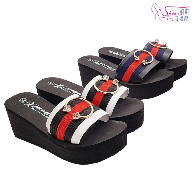 鞋鞋俱樂部2館 雙色織帶金色環厚底楔型拖鞋 黑 白 023-LA907