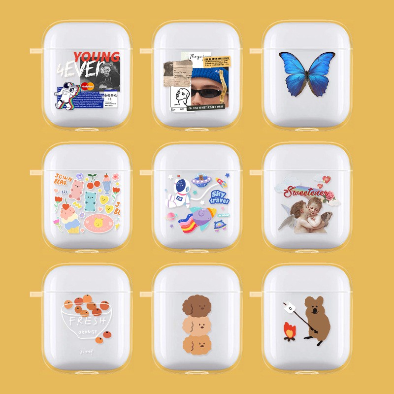 Airpods夏季透明可愛熊熊柴犬保護殼小雛菊蘋果藍牙耳機套airpods pro蝴蝶保護殼pro3適用2代