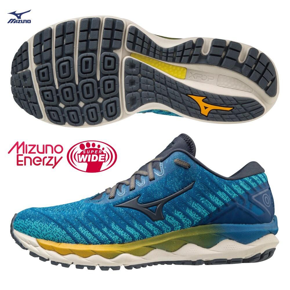 MIZUNO WAVE SKY WAVEKNIT 4 SW 男鞋 慢跑 4E寬楦 藍【運動世界】J1GC203930