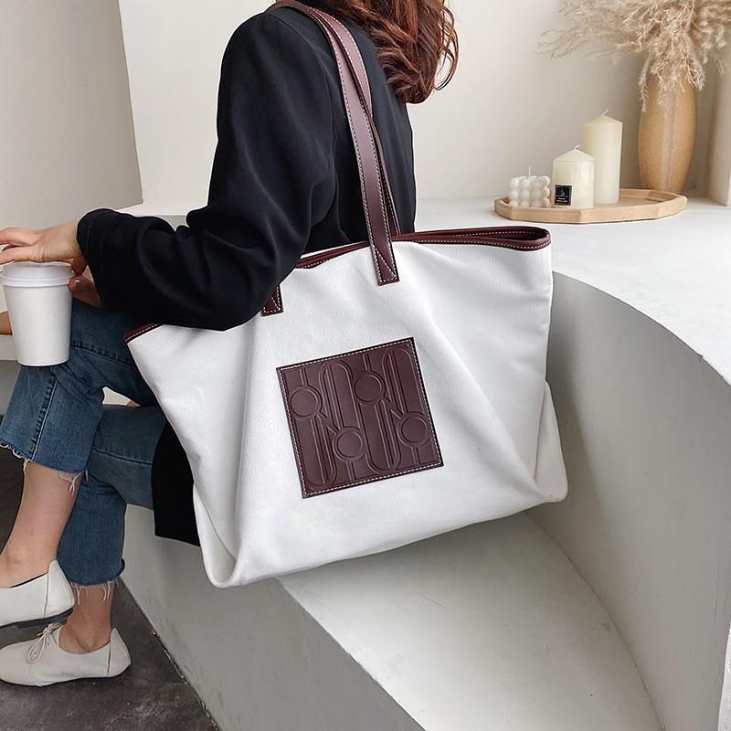 2020新款時尚女士帆布大包韓版手提包百搭休閒通勤單肩托特包