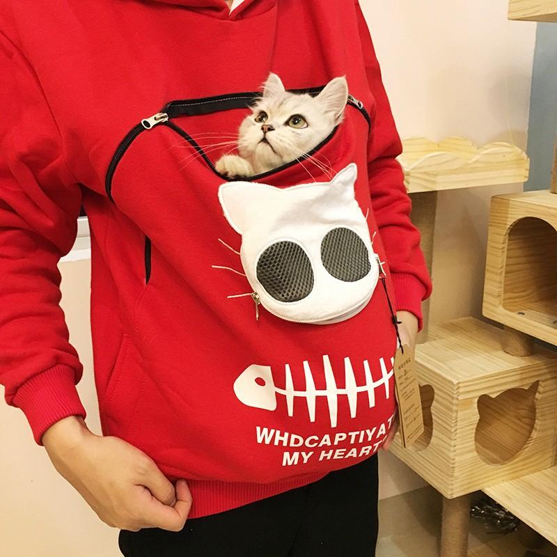 [限時滿減]!可以裝貓的衛衣神器遛貓擼貓服能帶貓咪抱狗出門的寵物衣服袋鼠兜