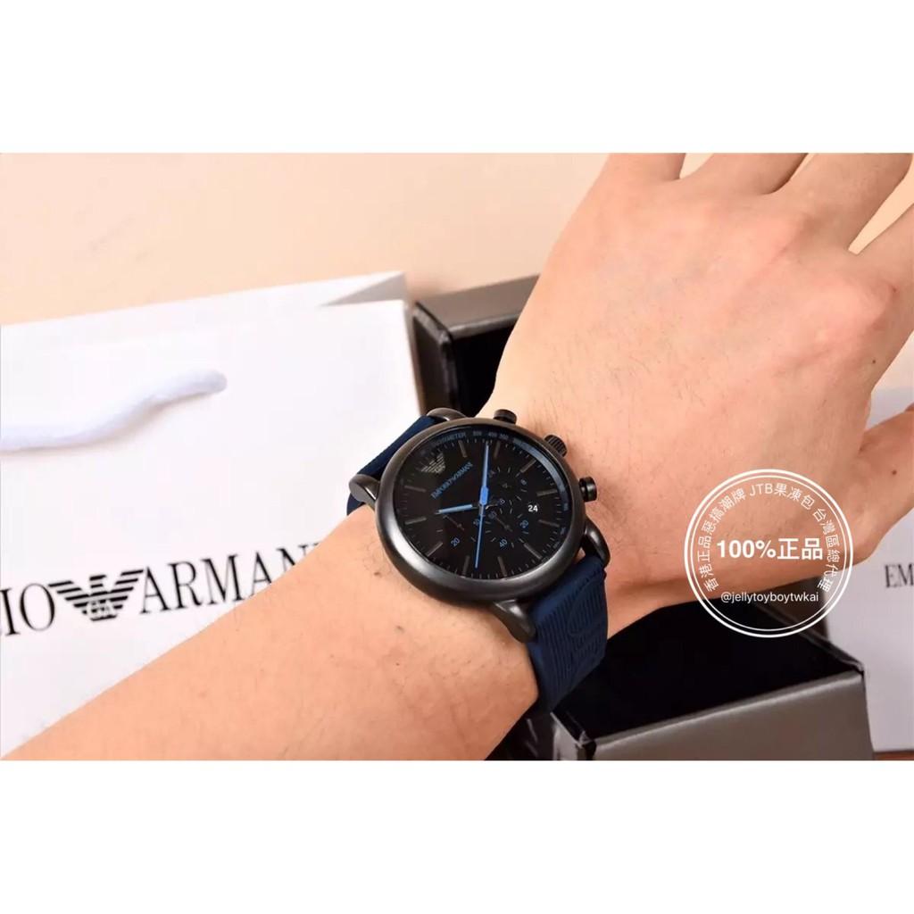 全新正品 亞曼尼 EMPORIO ARMANI ORIS 風格 橡膠錶帶 三眼計時 男錶 4色 AR11024 黑紅