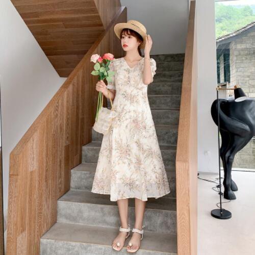 洋裝 裙子 甜美 短袖 S-XL新款雪紡連身裙收腰顯瘦氣質小香風法式碎花裙H325-9102.胖胖美依