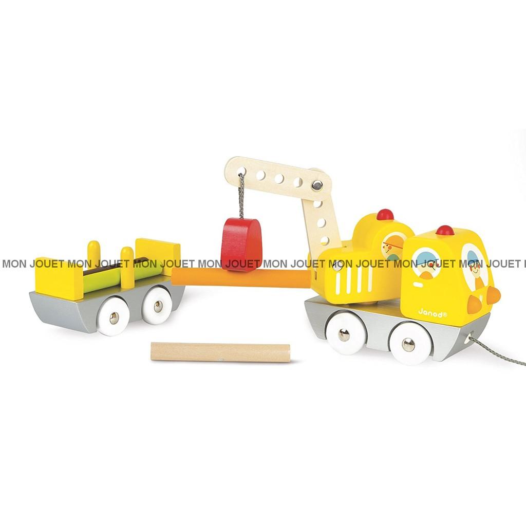 Janod plan toys 伐木車 手拉車 積木 玩具車