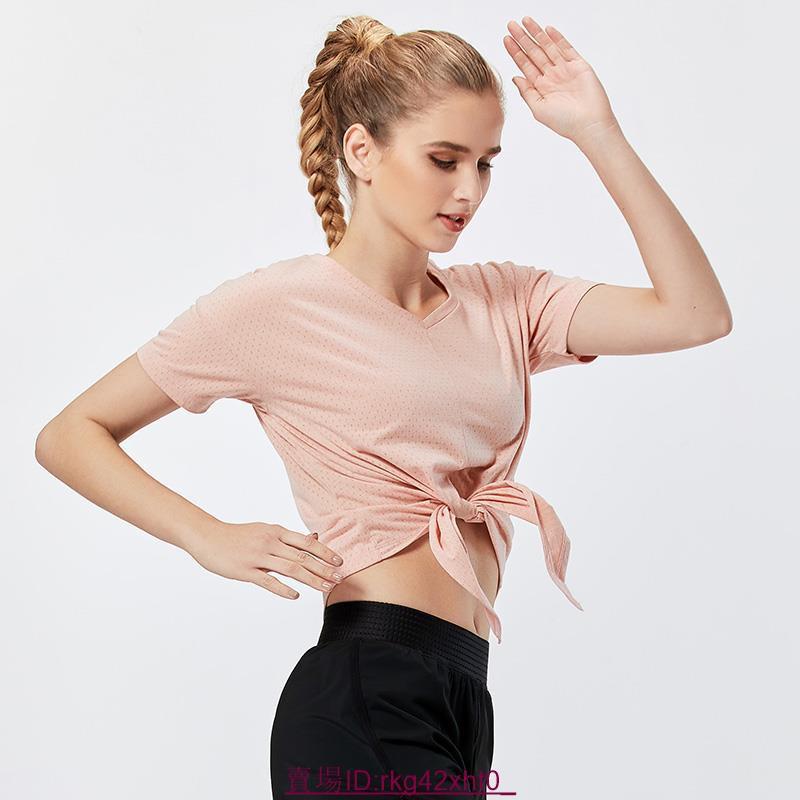 健身上衣女夏網紅瑜伽服運動快干衣吸汗透氣薄款T恤跑步訓練短袖