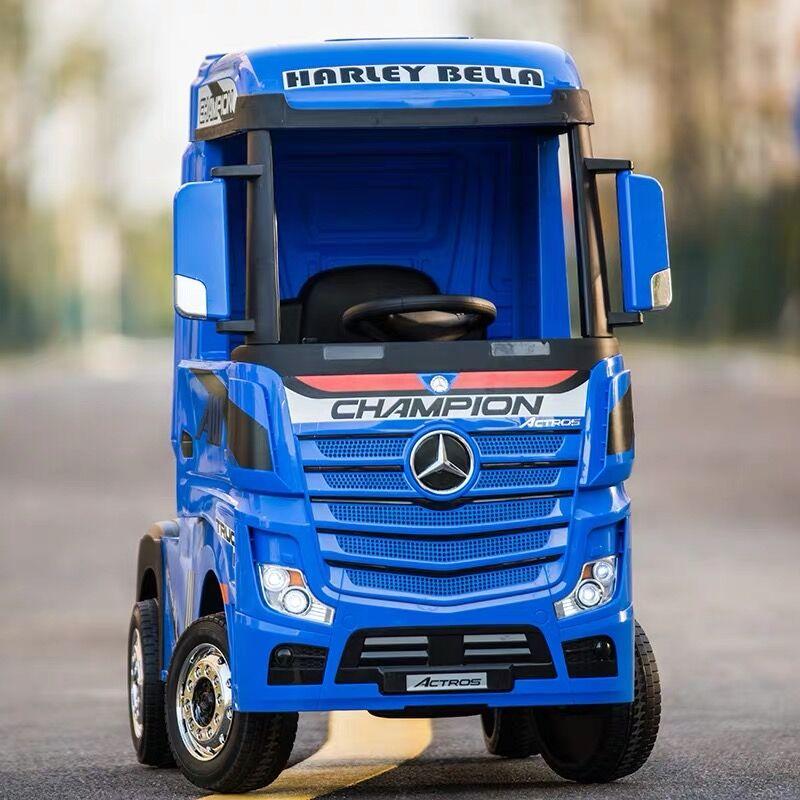 賓士卡車頭兒童電動四輪半掛貨車可坐人寶寶玩具車帶遙控電動汽車