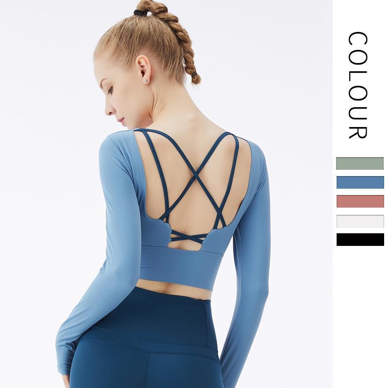 【勁美】 新款美揹帶胸墊露背瑜伽服 長袖運動上衣女裸 感健身短款上衣