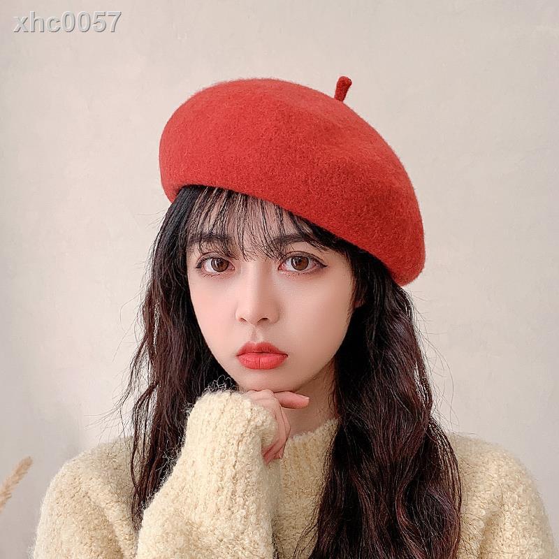 【現貨】新款貝雷帽女秋冬羊毛黑色英倫復古百搭畫家帽冬季帽子女士蓓蕾帽