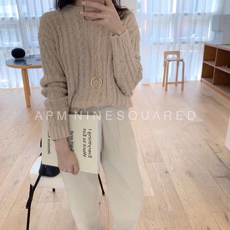韓國連線 米杏色粗針織毛衣 create.me