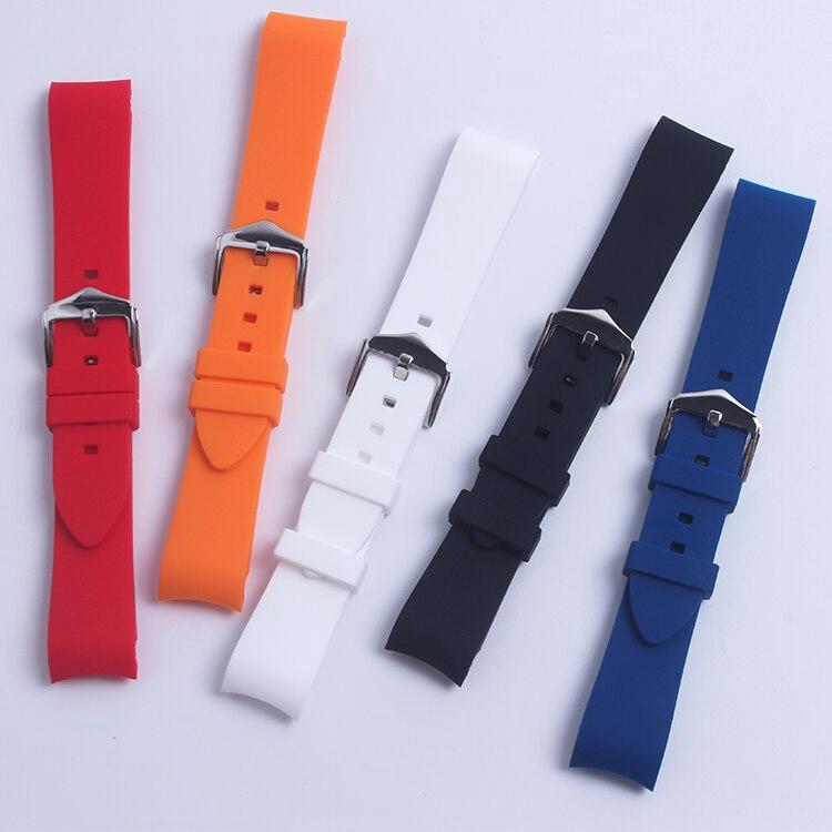 黑色軟戶外彎曲矽橡膠錶帶 18mm 20mm 22mm 適用於精工 Oris Omega Tag Huere 錶帶防水錶