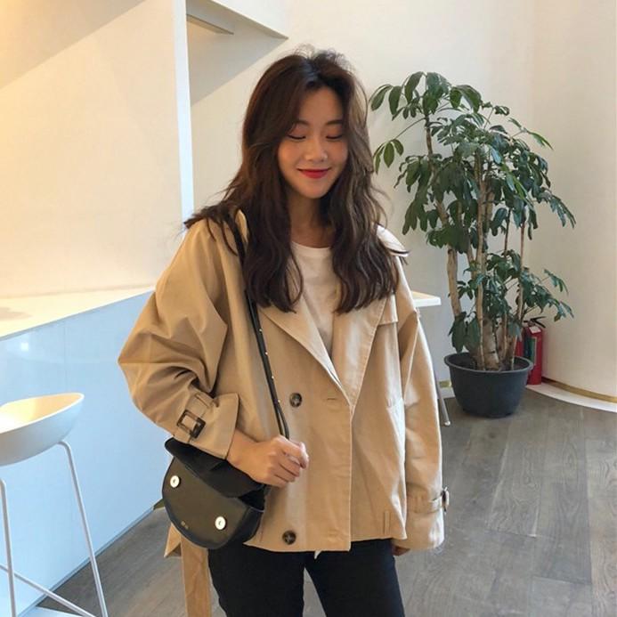Berry Shop 實拍 韓版寬鬆純色風衣外套 女生韓版風衣外套