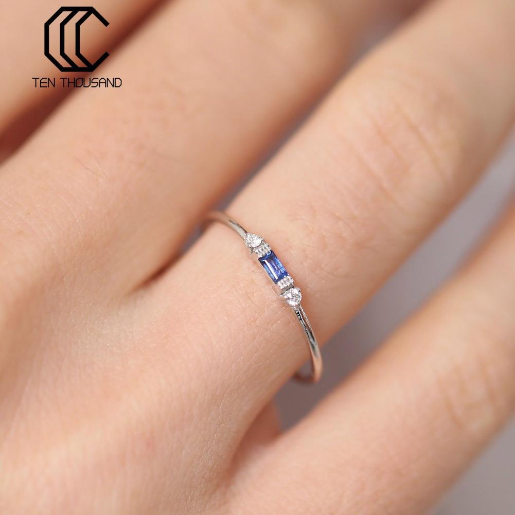 TENTHOUSAND新款歐美玫瑰金色女祖母綠鋯石鍍18k黃金訂婚戒指