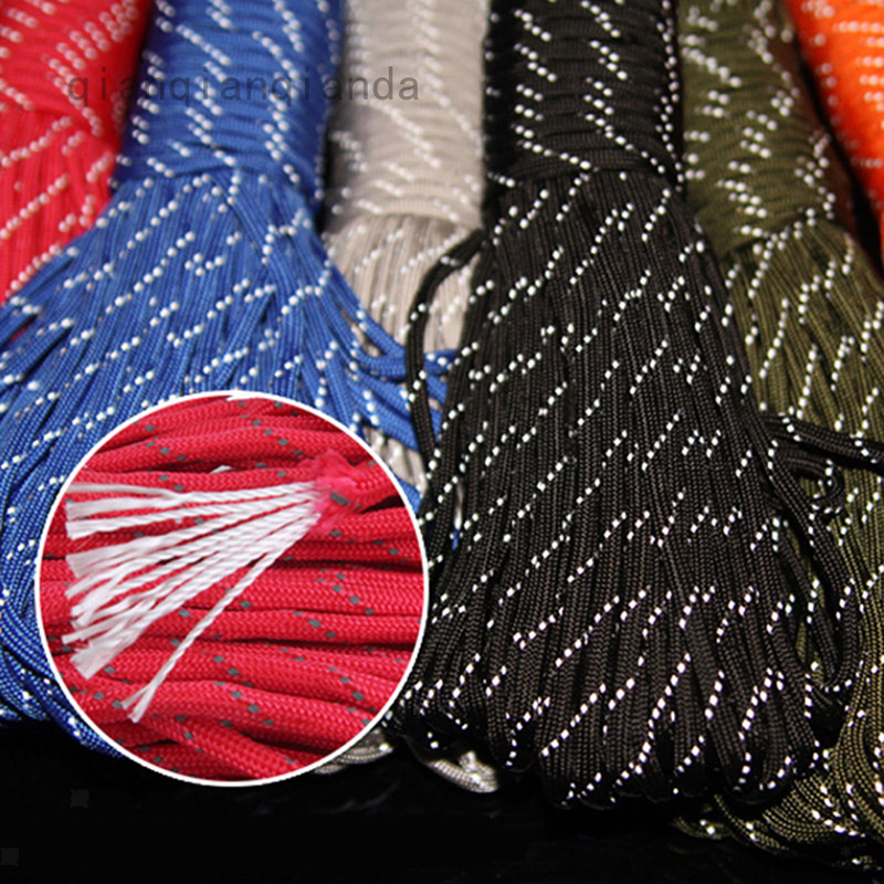 Qianqianda Evryshingok 20m / 捆綁反光 2mm 熒光綠色帳篷繩 2mm 反光帳篷繩降落傘繩