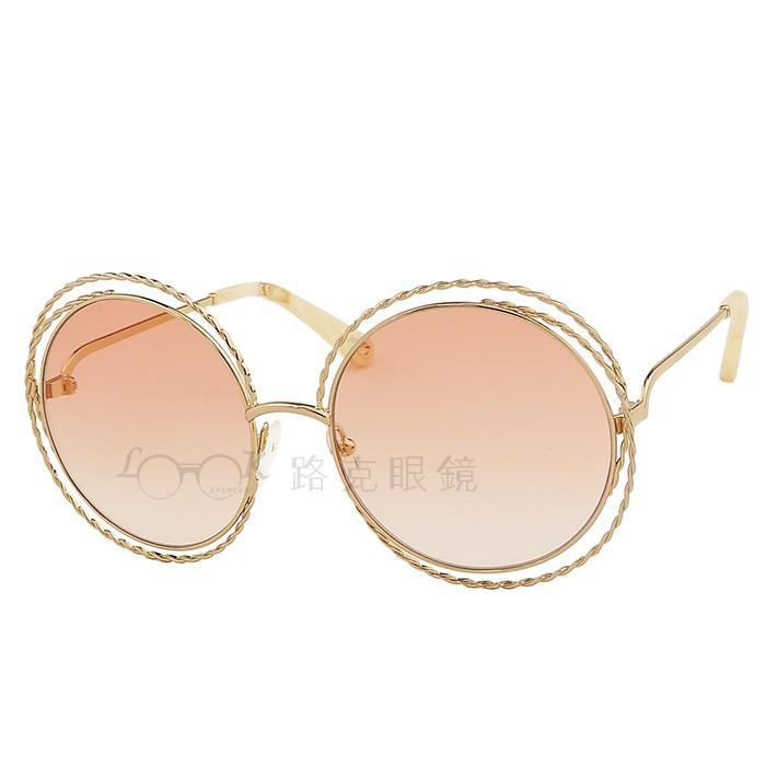 Chloé 太陽眼鏡 螺旋金屬線圈 粉色 CE114ST 724