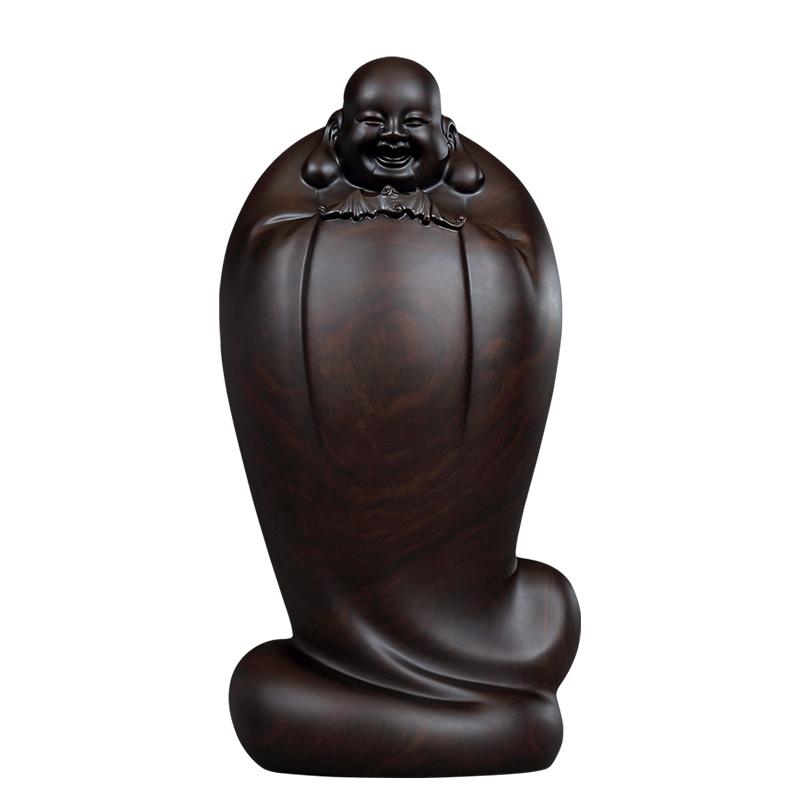 【熱銷】黃泉福大師 著名作品 皆大歡喜五福彌勒佛黑檀木雕擺件收藏藝術品【滿599出貨】