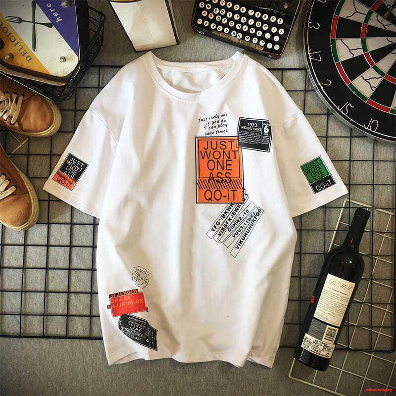 休閒T恤短袖t恤男潮牌潮流ins夏季2021新款韓版白色衣服寬松大碼半袖體恤