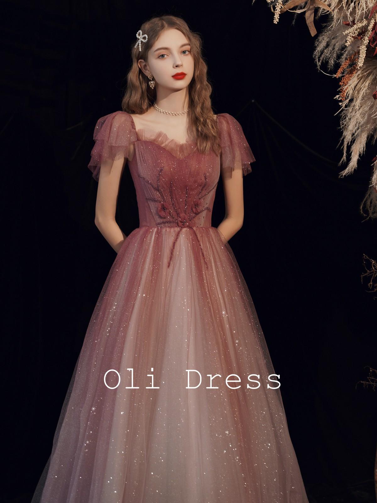 Oli家 新娘敬酒禮服女主持2020款晚宴年會長裙結婚紅漸變洋氣仙小