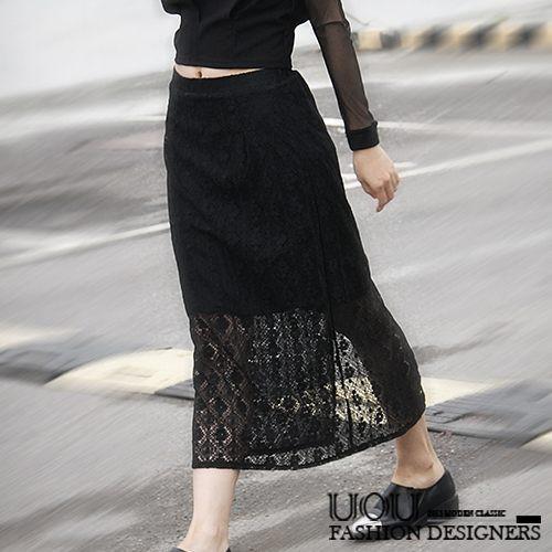 LADY簡約蕾絲勾花修身顯瘦長裙  A153 黑色【UOU精品】