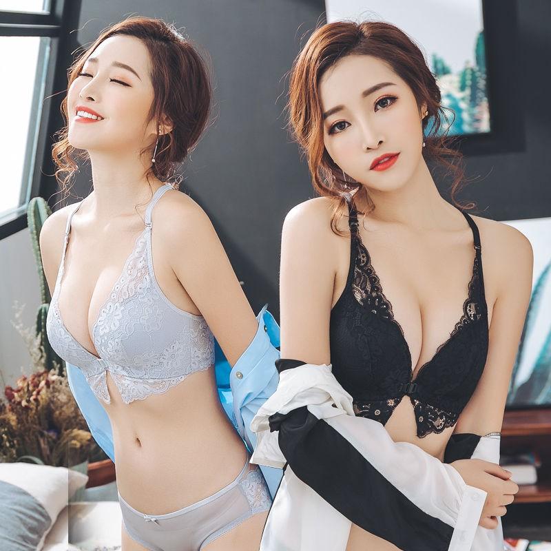 ♀內衣女聚攏性感無鋼圈前扣蕾絲內衣套裝女透氣胸罩收副乳美背文胸