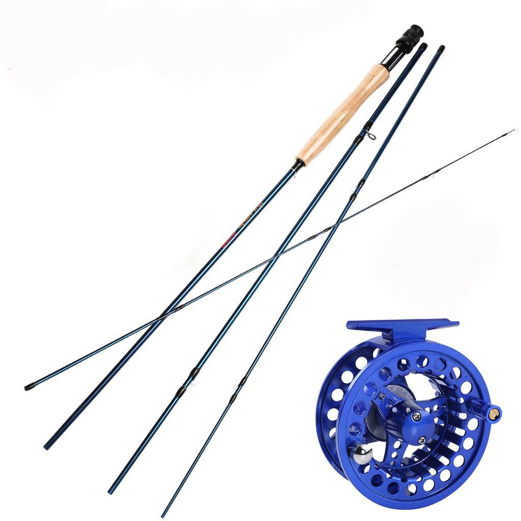Sougayilang 嗖嘎一郎 飛蠅竿5/6號 2.7米飛蠅竿飛釣竿 藍色飛釣輪飛蠅釣魚竿路亞套裝漁具 釣魚 戶外飛蠅