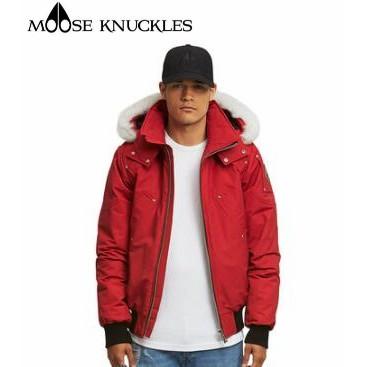 加拿大代購 Moose knuckles 2020 年冬季 男士毛領羽絨服加厚 防風 款連帽 絨 口袋工裝紅色外套