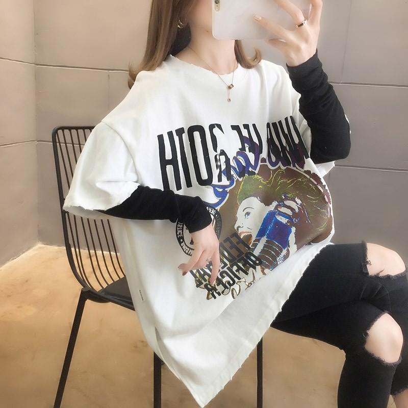 實拍2020秋裝韓版圓領印花百搭假兩件中長款大碼女裝長袖T恤女