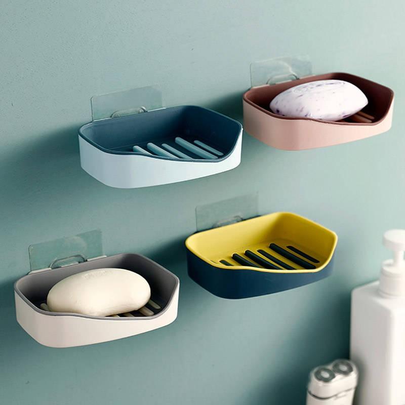 ☺日用 收納☺ 現貨 肥皂盒雙層瀝水吸盤壁掛式個性創意強力衛生間皂托北歐風格肥罩架