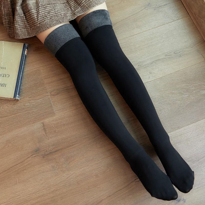 韓版新款絲襪光腿肉色過膝襪子加絨中長筒黑膚色絲襪秋冬加厚保暖高筒護腿襪套