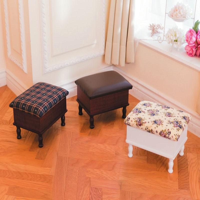 【CA97-6】古典收納椅凳(格子布)