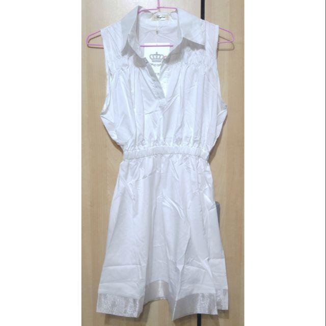 全新 春夏 襯衫領 無袖 鬆緊腰 連身裙 洋裝 白色 S