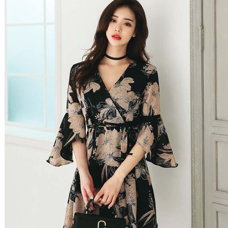 韓版 復古印花 喇叭袖繫帶 連身裙洋裝 A18236