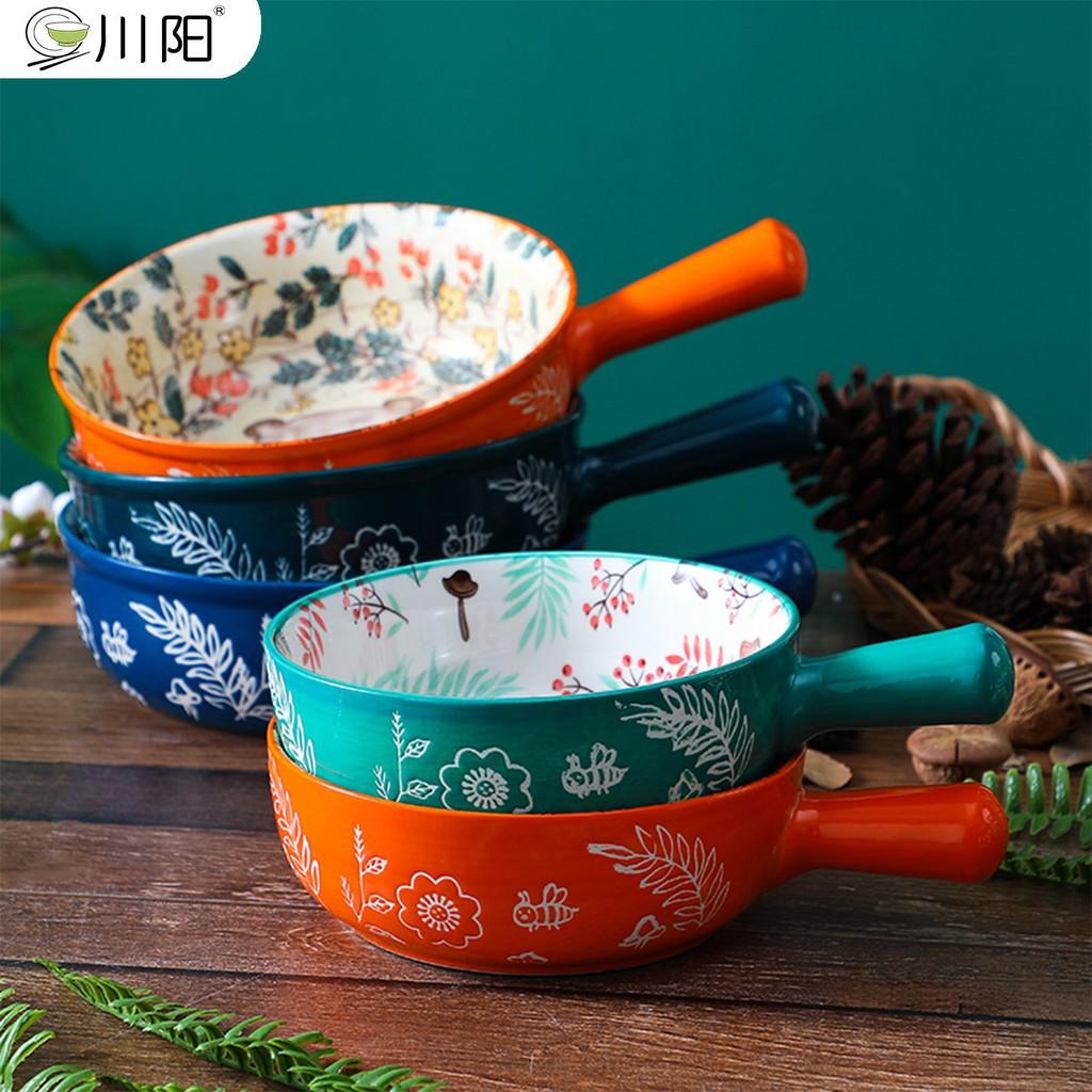 ✧簡約風✧日式陶瓷帶手柄泡面碗果沙拉碗家用創意烘焙焗早餐盤個性菜盤早餐盤網紅創意日式飯碗料理盤餐具套裝