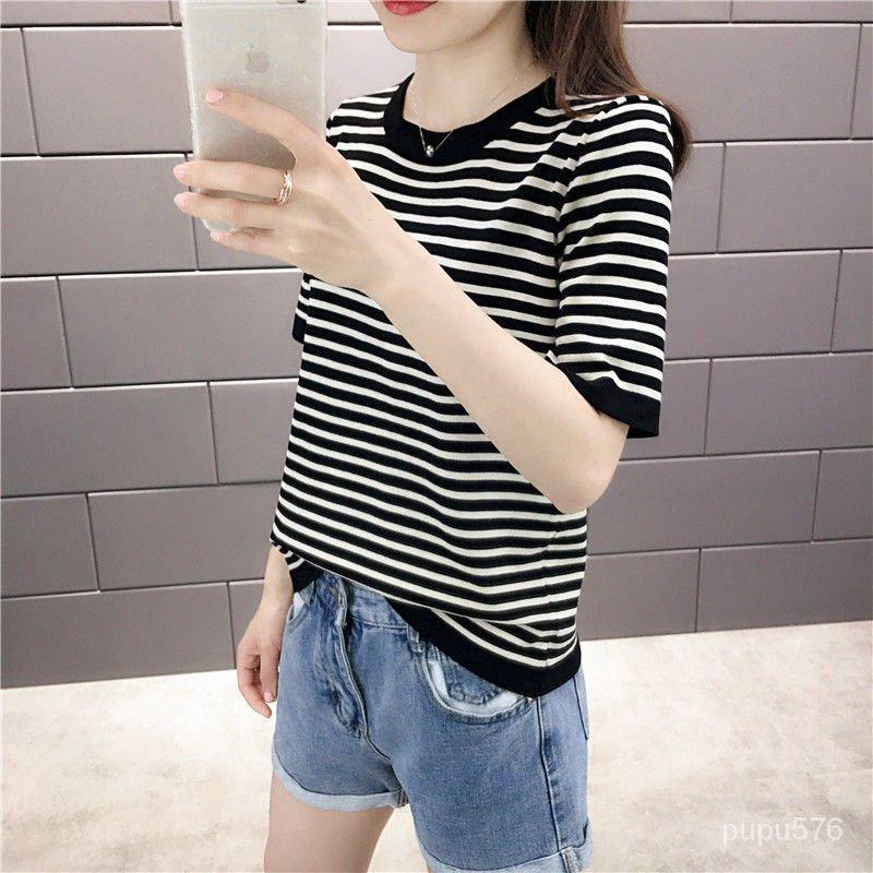 打底衫短款條紋夏季針織女冰絲薄款寬鬆修身T恤半袖圓領短袖上衣