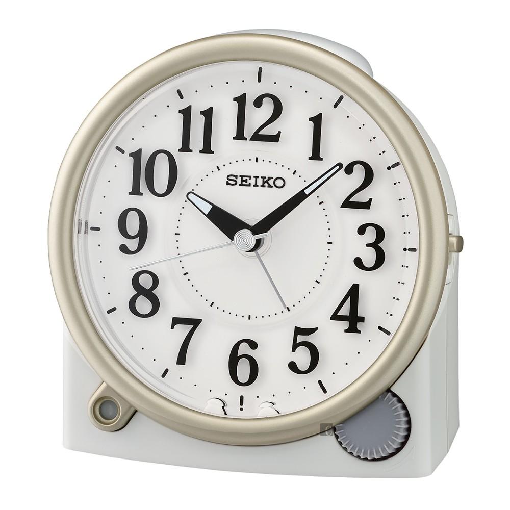 SEIKO 精工 滑動式秒針嗶嗶聲靜音貪睡鬧鐘 QHE176W