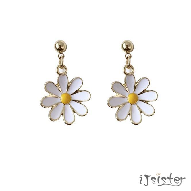 小雛菊花朵氣質簡約清新小巧甜美耳針耳夾耳環520