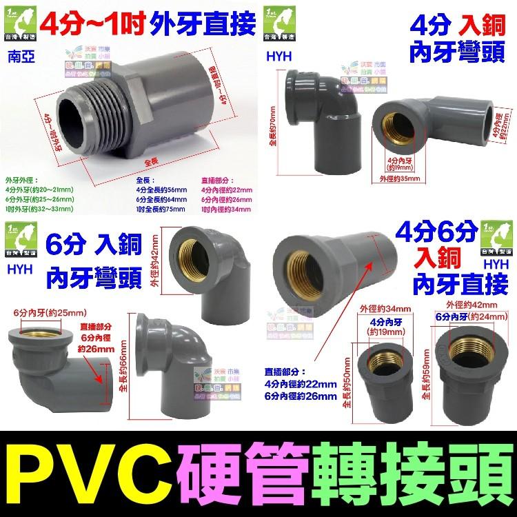🚿㊣【水博士】PVC硬管接頭 4分 6分 1吋 轉接頭 直接 彎頭 三通 龍口接頭 閥接頭 內牙外牙 南亞 HYH